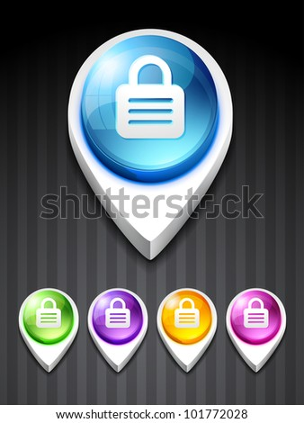 vector 3d style lock icon design art