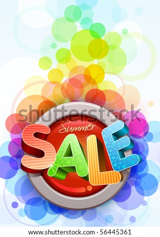 Vector 3d summer sale poster design template.