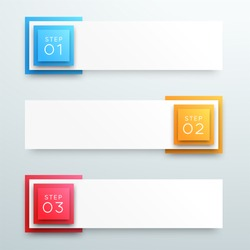 Vector 3d 1 to 3 Text Box Banner Steps Infographic B
