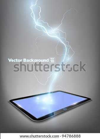 Vector 3d touch tablet model with blue shine lightning flash. Part of technical gadget set.