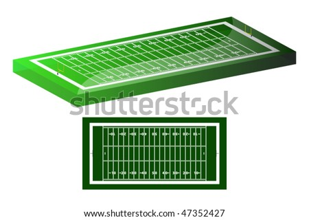 view of American football pitch with goals and base diagram proportional