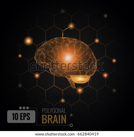 Vector 3D wireframe polygonal bright orange brain graphic illustration side view glowing with hexagonal connection dots on black background
