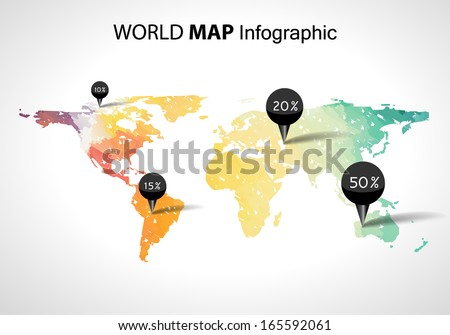 vector 3d world map with points and percantage globe world map concept world map with gps location pins and travel