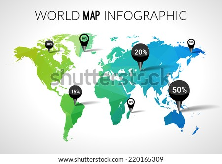 Free vector world map with pins download free vector art stock vector 3d world map with points and percantage triangle green blue travel globe world map gumiabroncs Image collections