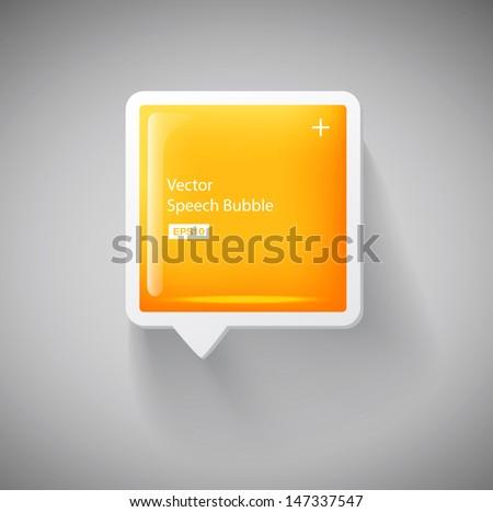 Vector 3d yellow square plastic glossy speech bubble