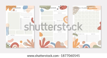 Vector daily,weekly,monthly planners templates with abstract organic shapes and doodles in neutral earthy tones.Organizer and schedule with place for notes; goals and to do list.Abstract modern design Сток-фото ©