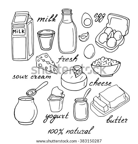 Vector Dairy Products: Milk, Cheese, Butter, Yogurt ...