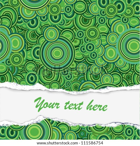 Vector - damaged paper with place for text (green pattern)