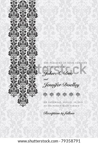 Vector Damask Column Background. Easy to edit. Perfect for invitations or announcements.