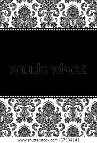 Vector damask frame. Easy to scale and edit. Pattern is included as seamless swatch