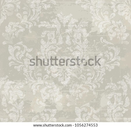 Vector damask pattern background. Classical luxury old fashioned ornament, royal victorian texture for wallpapers, textile, wrapping. Exquisite floral baroque templates