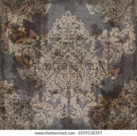Vector damask pattern element. Classical luxury old fashioned ornament grunge background. Royal Victorian texture for wallpapers, textile, fabric, wrapping. Exquisite floral baroque templates
