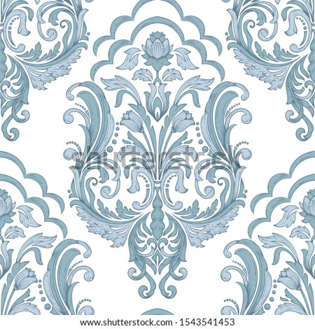 Vector damask seamless pattern element. Classical luxury old fashioned damask ornament, royal victorian seamless texture for wallpapers, textile, wrapping. Exquisite floral baroque template. Сток-фото ©