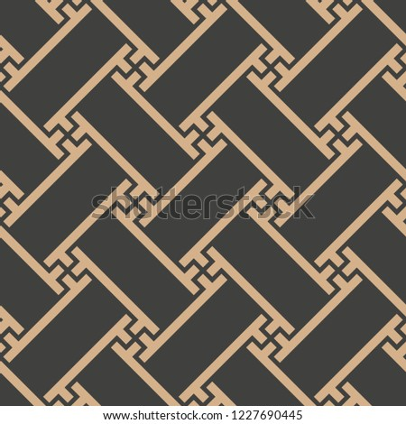 Vector damask seamless retro pattern background spiral geometry oriental cross lattice polygon frame. Elegant luxury brown tone design for wallpapers, backdrops and page fill.