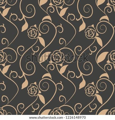 Vector damask seamless retro pattern background spiral vortex cross vine leaf rose flower. Elegant luxury brown tone design for wallpapers, backdrops and page fill.