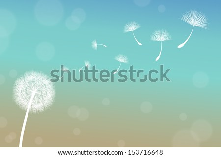 vector dandelion on a wind loses the integrity - Shutterstock ID 153716648