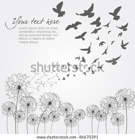 Vector Dandelion With Birds