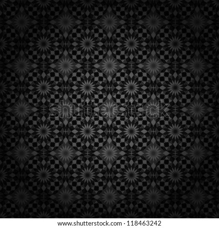 Vector. Dark abstract floral background. Seamless pattern.