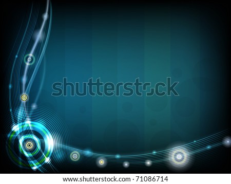 Vector Dark blue background with the lines and circles - stock vector