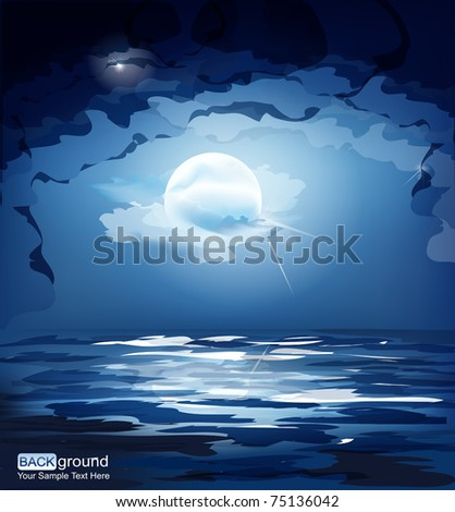 vector dark blue night sky, the moon and the sea