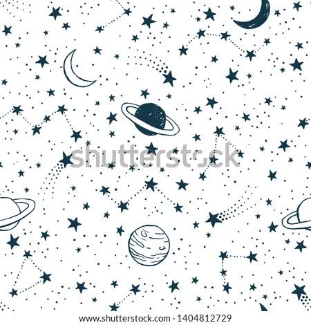 vector dark blue space seamless