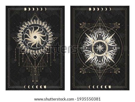 Vector dark illustrations with sacred geometry symbols, grunge textures and frames. Images in black, white and gold.
