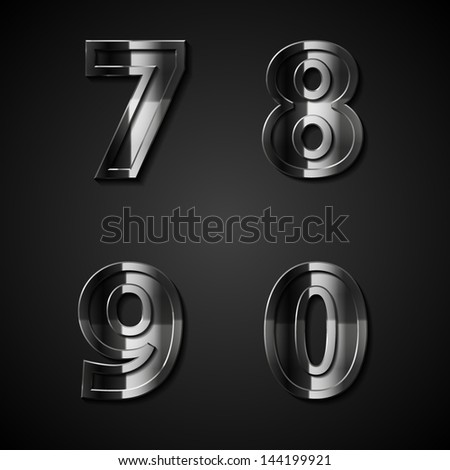 vector dark metal numbers 7 8 9