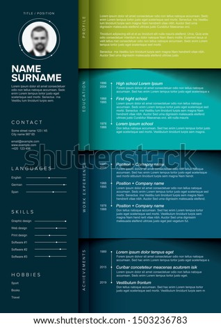 Vector dark minimalist cv / resume template with color blocks design