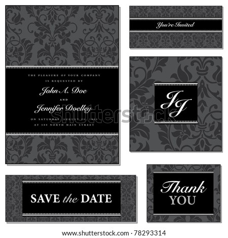 Vector Dark Victorian Frame Set. Easy to edit. Perfect for invitations or announcements.