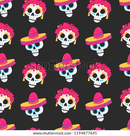 Vector Day of the dead (Dia de los muertos) mexico  pattern with sculls on dark background. Perfect for wallpaper, gift paper, holiday decorations, mexican party
