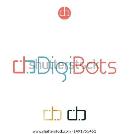 Vector DB letters, mirror reflection, symmetric Logo. Professional Corporate Identity, Visual Identity Icon.