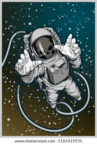 Vector Dead Astronaut in Outer Space
