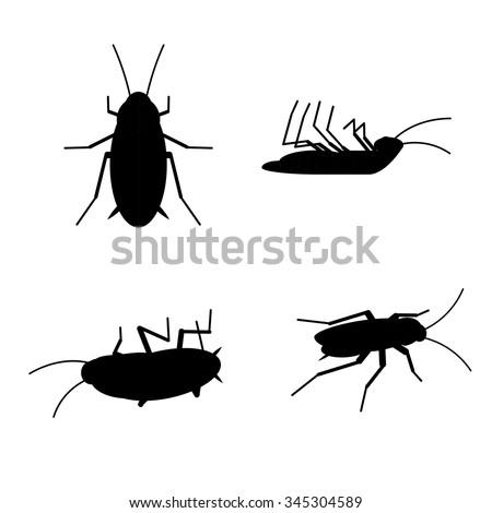 Vector Dead Cockroach Silhouette Set