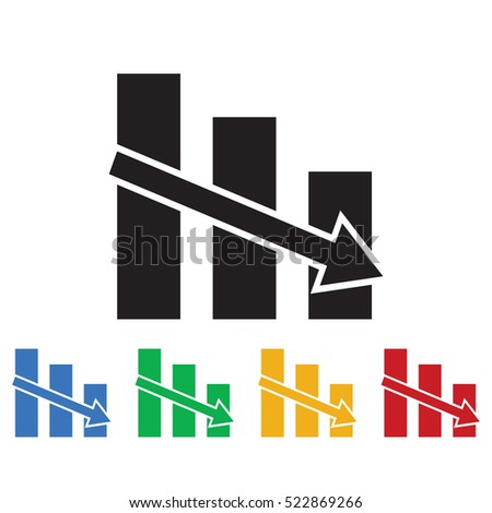 Vector declining graph icon. Business icons set of colors
