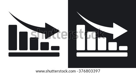 Vector declining graph icon. Two-tone version on black and white background