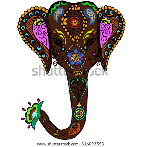 Vector Decorated Indian Elephant Color Sketch - 316093553 ...