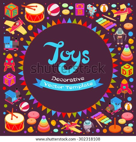 Vector decorating design made of toys. Colorful card template with copy space