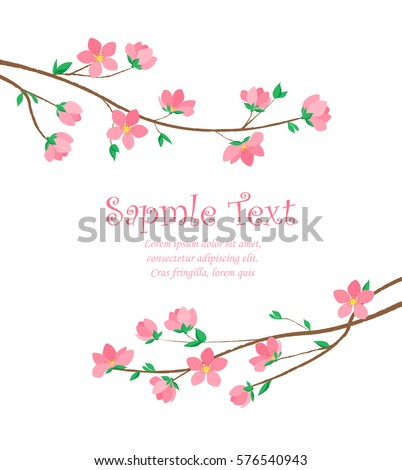 Vector decoration branches with flowers, spring blossom sakura