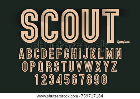 Vector decorative bold font design, alphabet, typeface, typography. Color swatches