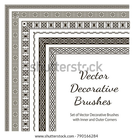 Vector Decorative Brushes with Inner and Outer Corners. Seamless Borders for Patterned Frames. Different colors are possible.