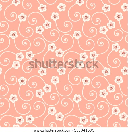 Vector - decorative curly seamless background with flowers