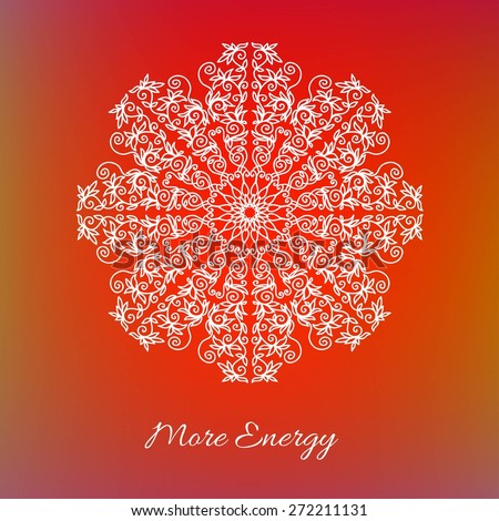 "Vector decorative design element. Abstract background with lettering ""More Energy"". Ornamental mandala. Abstract emblem. #272211131"