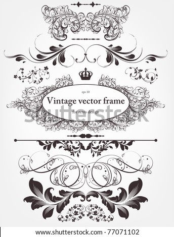Vector decorative design elements: page decor, frames, banners & ornaments