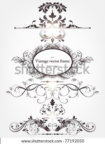 Vector decorative design elements: page decor, frames, borders, banners & floral ornaments. With retro frame.