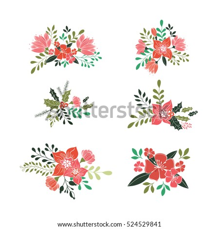 Vector decorative elements for Christmas greeting cards for Valentine card  isolated on white background. Vector flower collection.