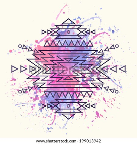 Vector decorative ethnic pattern with watercolor splash