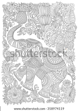 Vector decorative fantasy stylized ornate elephant silhouette. Zen tangle fantastic flowers, fruits, butterfly, leaves. Adults coloring book vertical page.Black and white T-shirt print. Batik paint
