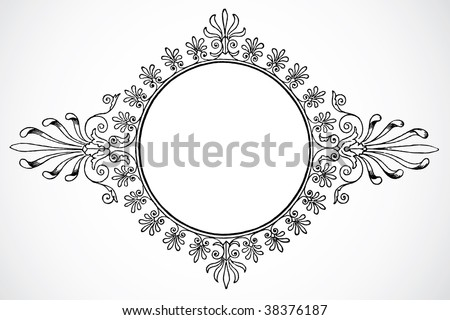 Vector Decorative Floral Circle Frame