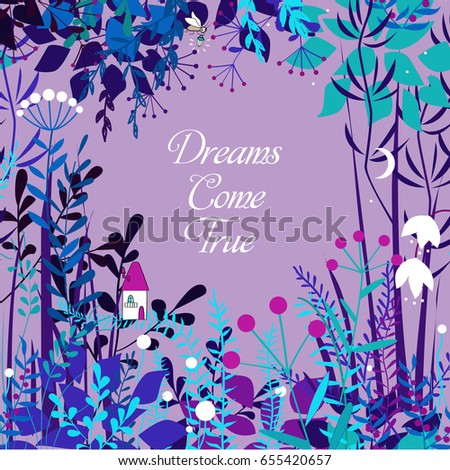 Vector decorative floral frame with forest elements. Doodles background for summer open air projects, cards, packaging, and other design