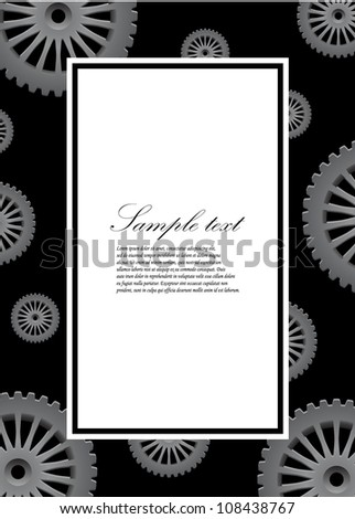 vector decorative frame with silver gears
